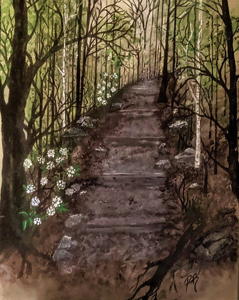 hiking path painting,hiker gift