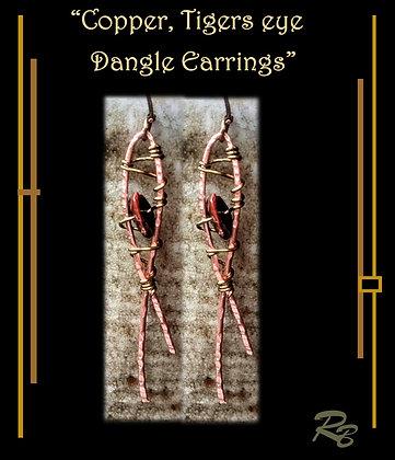 dangle earrings, mother, daughter, gift, Copper, tigers eye,zen, earrings