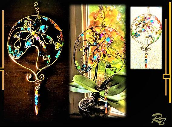 Butterfly, suncatcher, garden decoration,opper,gemstones,mother,wife,duaght