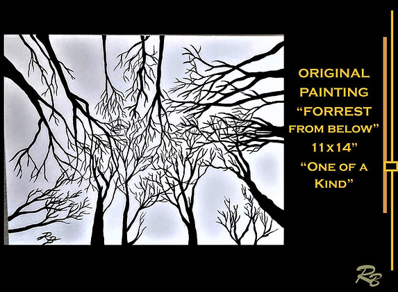 abstract art, painting, trees, forrest, black and white, landscape art, nature