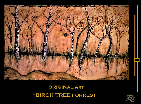 Original,art, Birch tree art, birch trees,  Cabin Decor ,Lodge Decor - Rustic