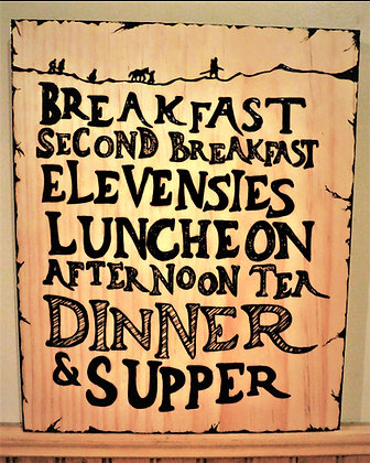Hobbit diet, hobbit,quote sign, wood, sign,wood anniversary gift, wife gift, hus