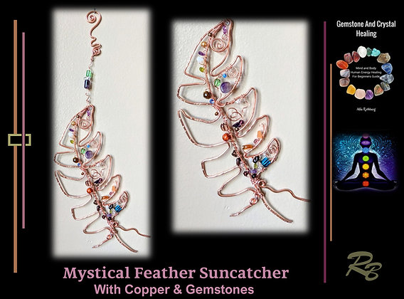 suncatcher, Feather,garden decoration,opper,gemstones,mother,wife,duaghter,gift,