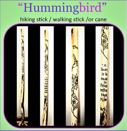 hummingbird gifts, walking stick,hiking stick, wood anniversary, retirement