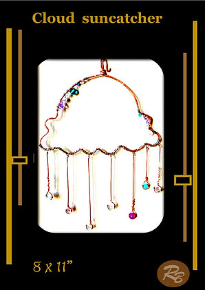 Cloud, suncatcher, garden decoration,nursery,copper,gemstones,mother,wife,dua