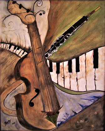 musician gift,music art, Abstract,fine art,Oil painting, Rockdale Arts district