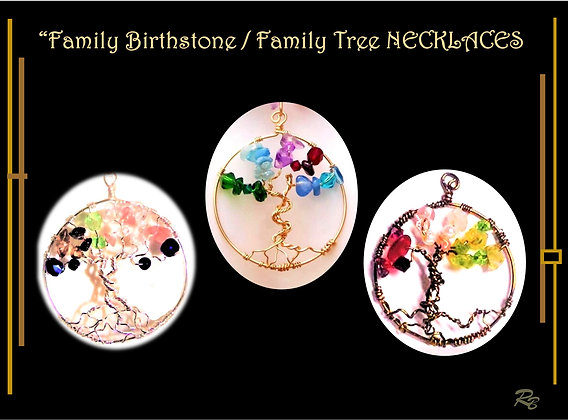 family birthstone necklace, family tree necklace, wife gift,mother,daughter