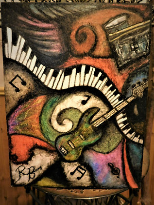 Oil pastel,musician gift,music art, music lovers gift,Abstract,Original