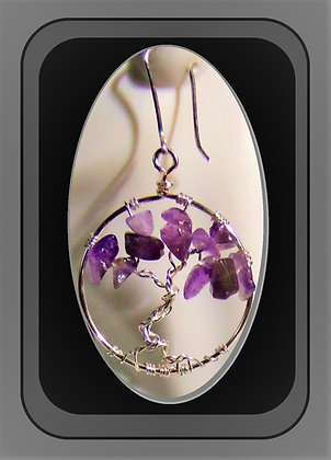 Amethyst, Earrings, Heart necklace, February, Valentines gift,wife, gift,mother