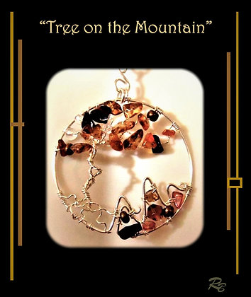 Wife gift, Tree on the Mountain, necklace, custom, Artist designed and created