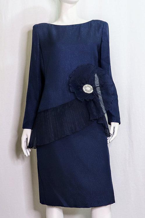 Ruffled Peeplum Navy Blue Dress