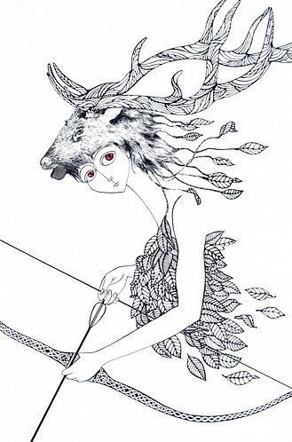 """""""Hunter, Goddess of the Woods"""" PRINT"""