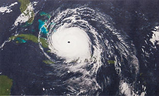 satellite view of hurricane heading toward Florida
