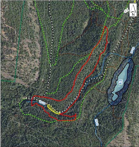 This treatment unit (3-5) includes the hillside above the Lower Army Road and below Romantic Ridge as well as a bit of the hillside across the creek to the south.