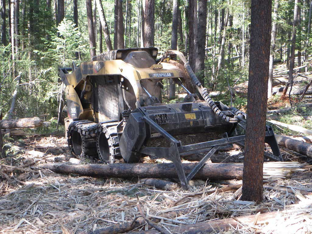 The mulching machine in action.
