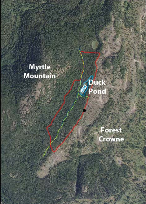 The area outlined in red along Duck Pond Trail will see both mulching and pile burning.