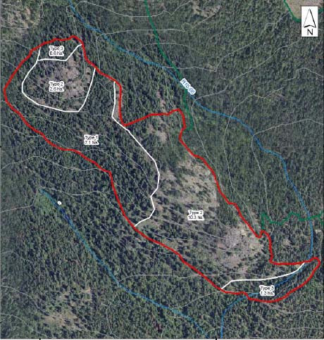 This treatment unit (3-22) covers some rocky outcrop areas in the southern end of the Park. It's northwestern end is at the South West Passage Viewpoint and its southeastern end crosses the lower portion of Duck Pond Trail just up from Jimmy Russell Road.