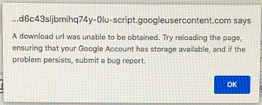 a download url was unable to be obtained