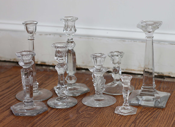 Glass taper candle holders