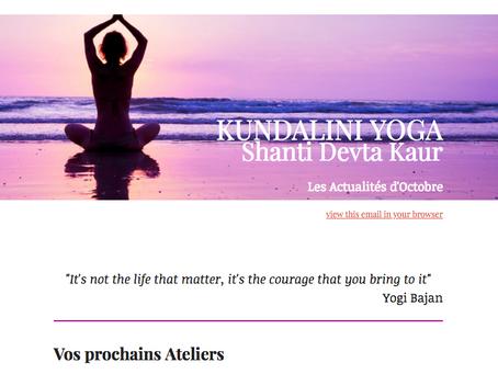 Vos prochains ateliers et cours de Yoga Kundalini.