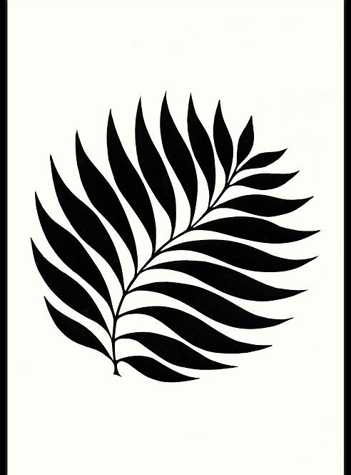 Circle Leaf / Balance - Original Linocut Print