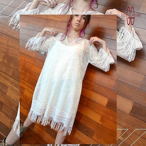 Vestido Branco em Renda e Linho
