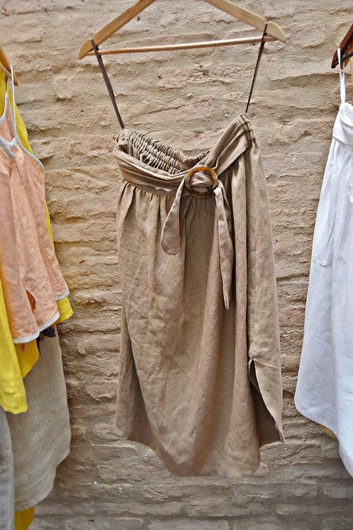 Vestido Linho Cru Caqui