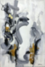 Modern acrylic black and white painting with accents of real gold leaf and coated with resin