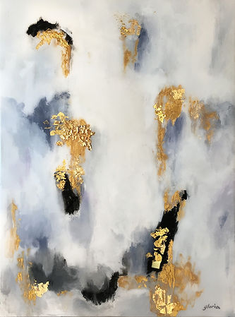 Modern acrylic painting with accents of real gold leaf, black and white theme with resin coating