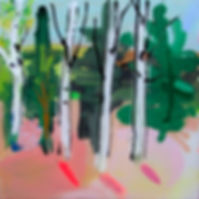 Modern forest and tree setting with bright and warm colours, simple, and coated with resin