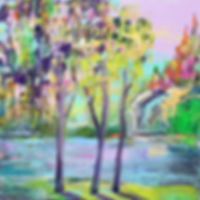 Modern acrylic tree scenery, impressionist art, with mountain details and waterfalls. Warm colours and pastels