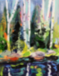 Acrylic and enamel modern tree painting in a forest setting with water and reflective details