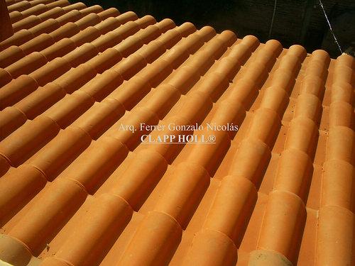 techo de madera completo c tejas romanas esmaltadas rojas