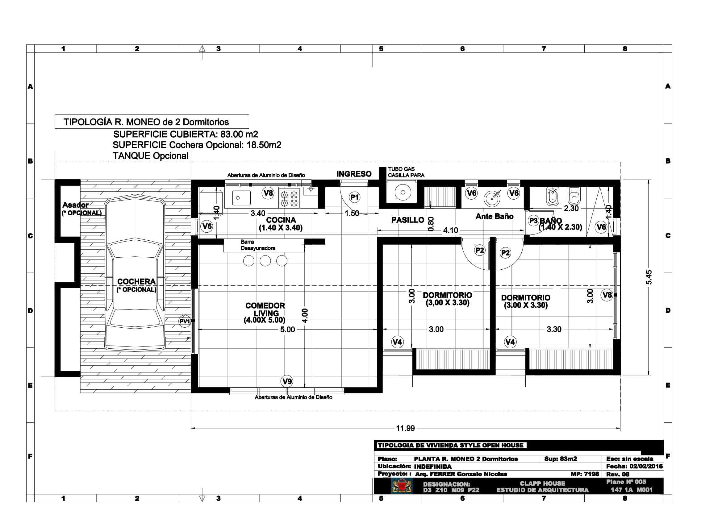 RAFAEL MONEO 83m2 de 2 Dormitorios