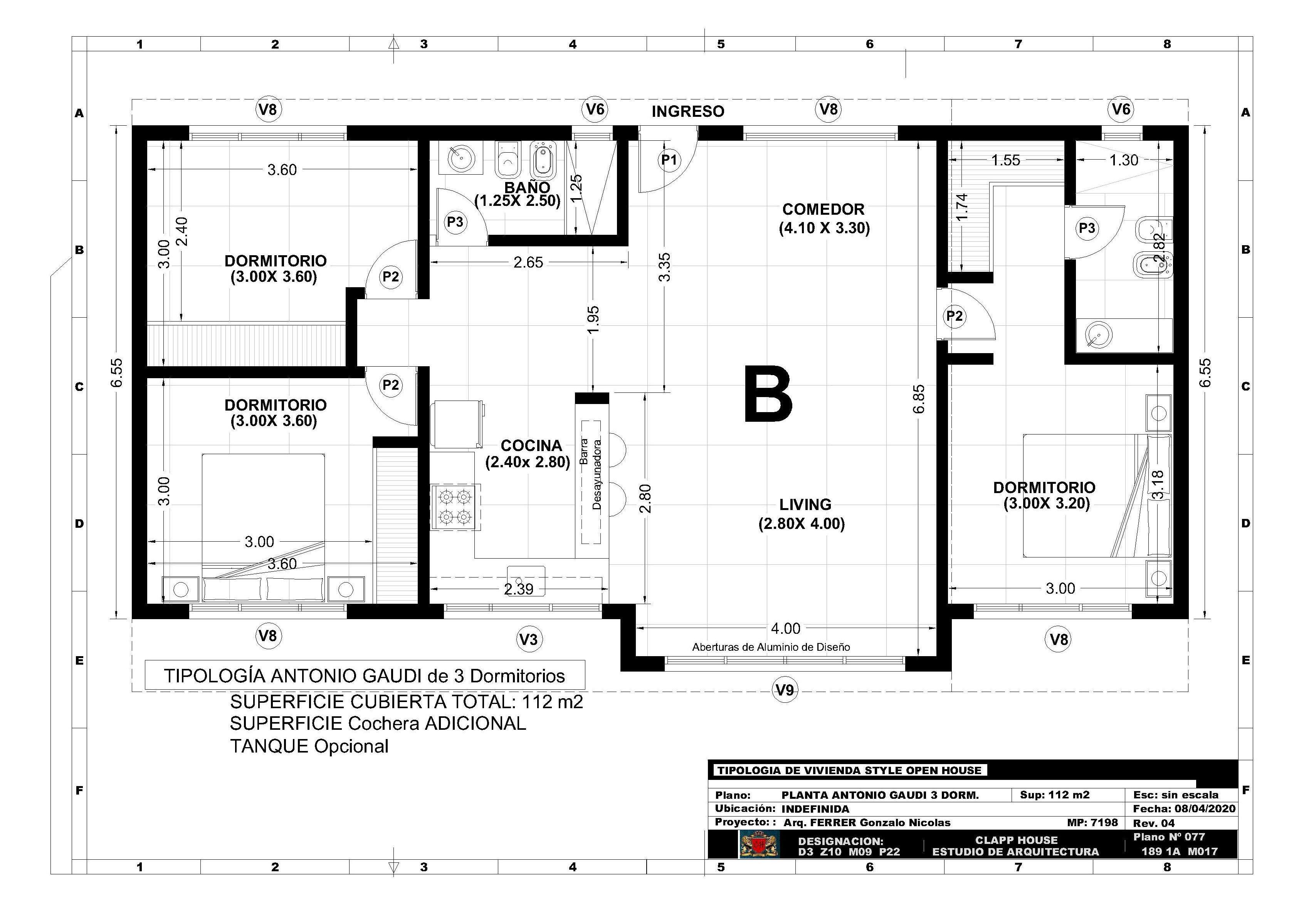 ANTONIO GAUDI 112 m2 3 Dorm.