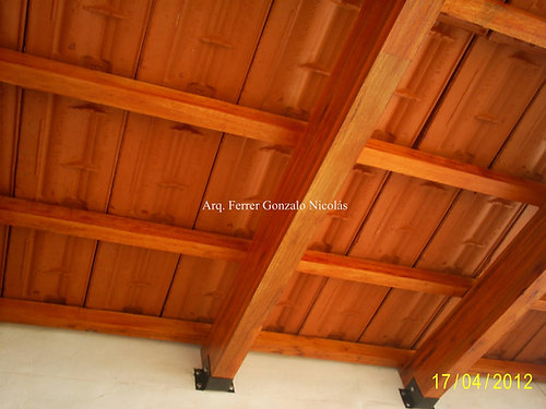 techos de madera simple terminacin en teja francesa esmaltada roja o natural