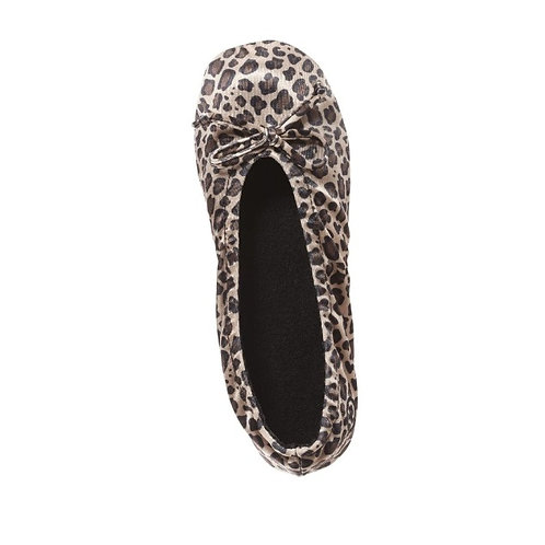 Cheetah Satin Ballerina Slippers with Satin Bow