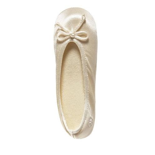 Cream Ballerina Slippers with Satin Bow