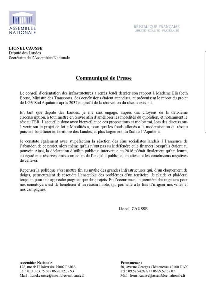 Communiqué de Presse Lionel Causse
