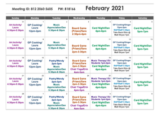 Beat the February Blues by attending our Zoom Programming!