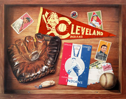 Trompe L'oeil, Cleveland Indians, Vintage Baseball, Glove, Honus Wagner, T 206
