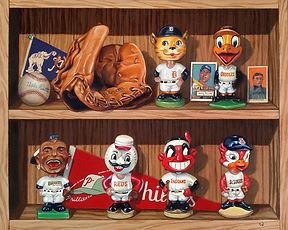 Trompe L'Oeil, Bobbleheads, Nodders, Vintage Bobbleheads, Tigers, Orioles, Braves, Reds, Indians, St Louis Cardinals