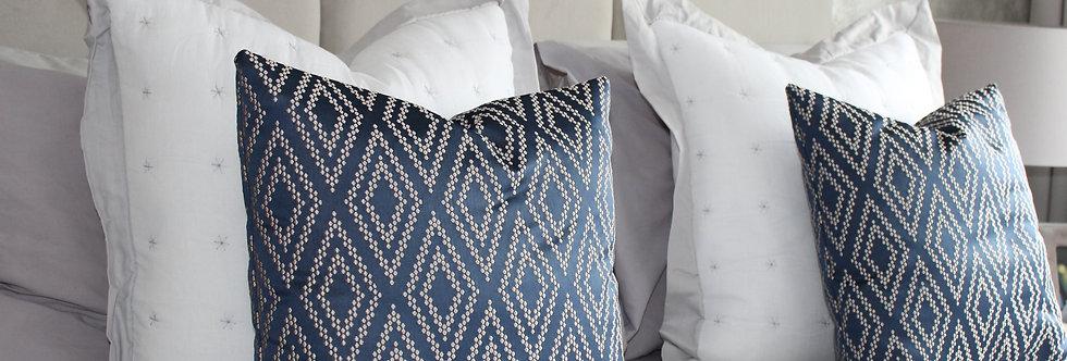 45x45 Ink Blue Geometric Cushion Cover