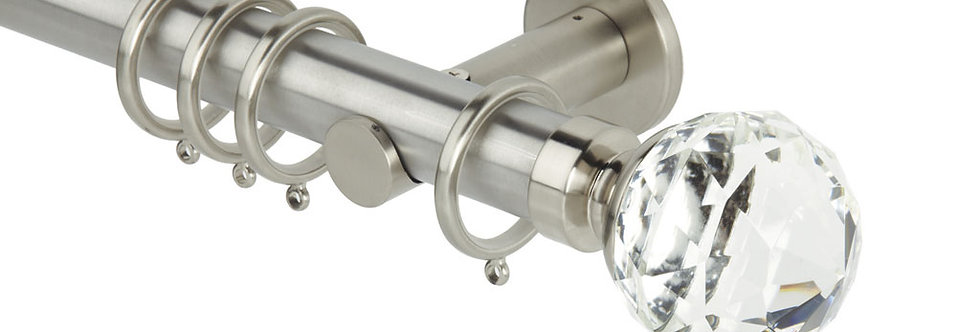35mm Clear Faceted Ball S/Steel Pole