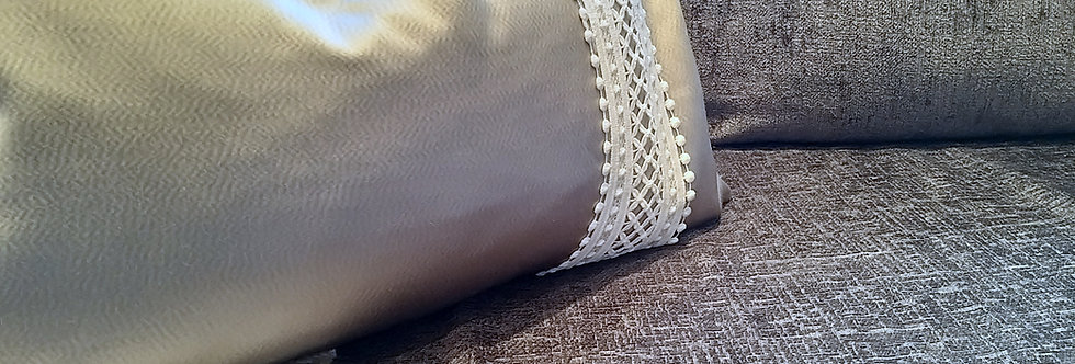 Rectangular Silver Trimmed Cushion Cover