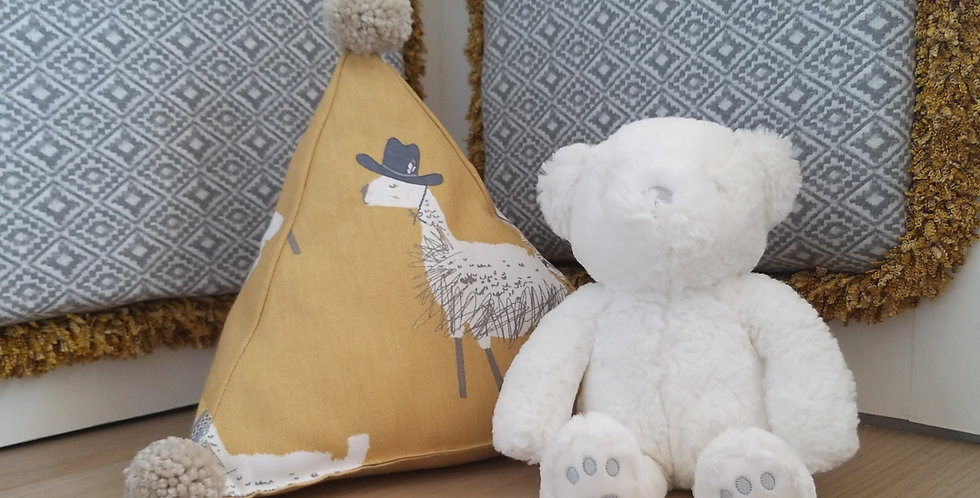 Fifi and me... Pyramid alpaca pompom cushion
