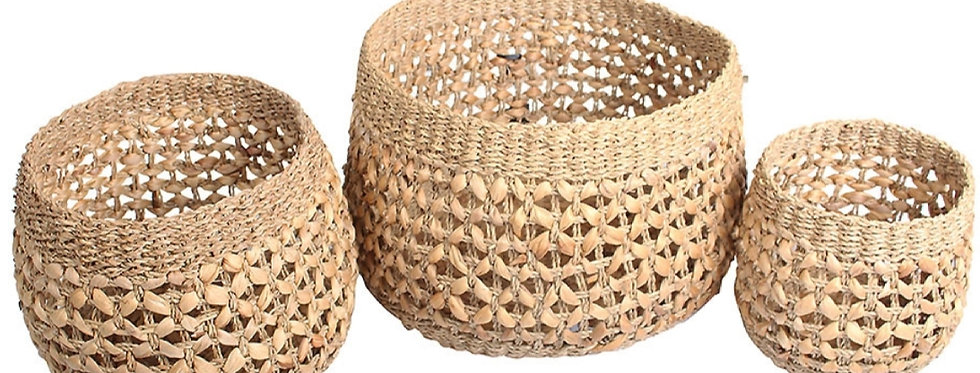 Woven Natural Seagrass and Water Hyacinth S/3 Round Baskets
