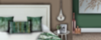Beautiful bedroom visual for our online interior design service, introducing greens