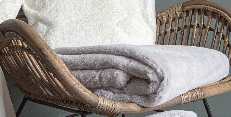 Silver Artic Faux Fur Throw