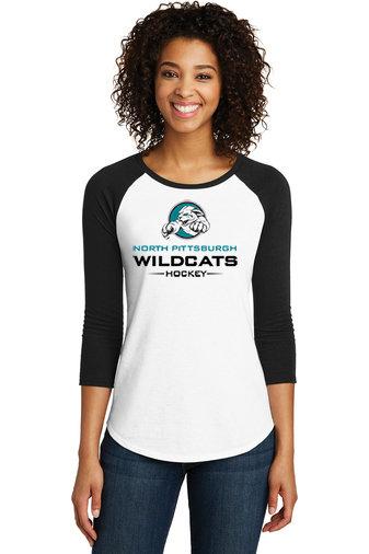 NP Wildcats-Women's Baseball Style Shirt-Wildcat Logo 2